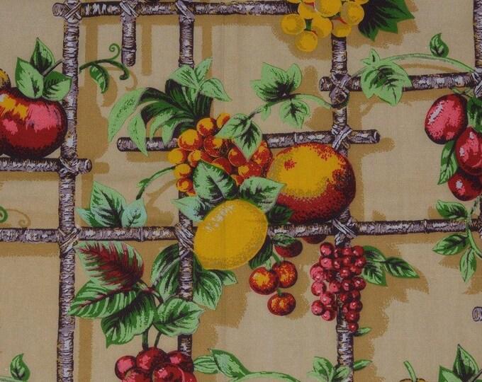 Lemons fabric grapes fabric Kitchen upholstery fabric Vintage fruit fabric