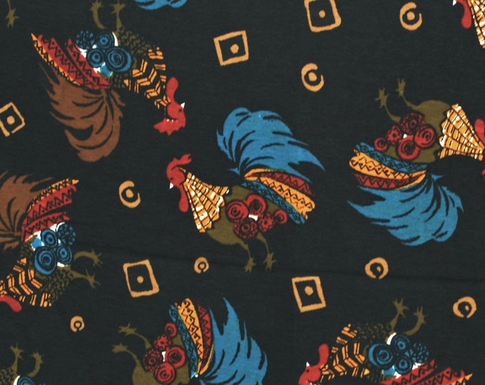 Black French rooster fabric for drapey dressmaking fabric