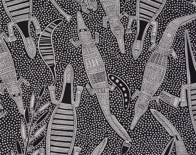 Lizard fabric aboriginal fabric reptile fabric tribal art fabric by the yard Hoffman fabric