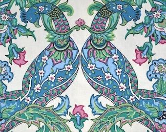 Peacock fabric, peacock printed fabric, kalamkari floral mirror image