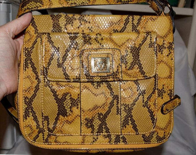 Faux snake skin purse, Anne Klein purse with exotic reptile print, adjustable shoulder bag