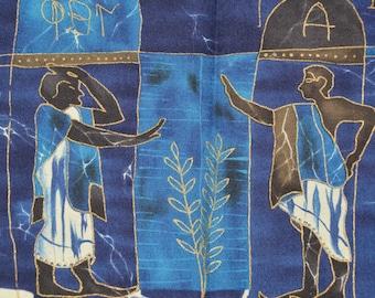 Rare Alexander Henry fabric, Phillip de Leon, batik tie dyed fabric, Ancient Greeks