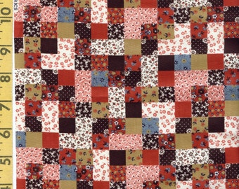 Vintage calico floral checkered, Vintage cheater quilt fabric, Cranston Print Works