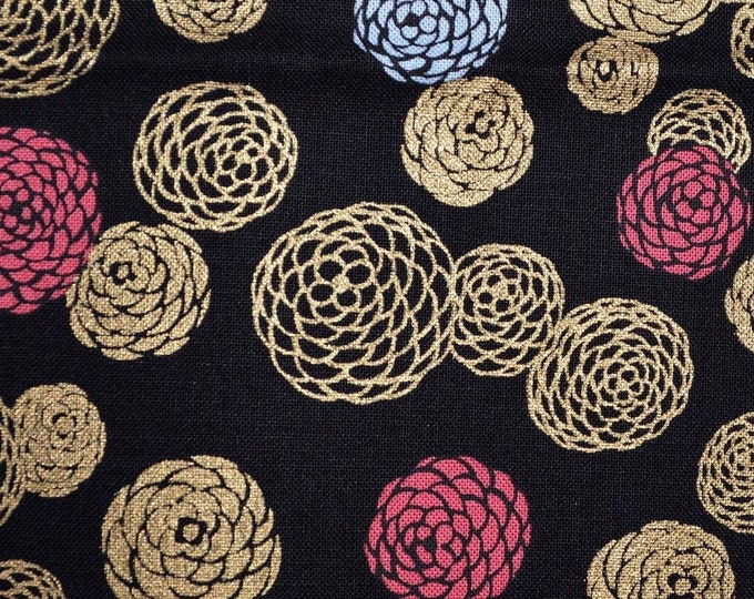 Asian fabric gold metallic and black Japanese floral mums
