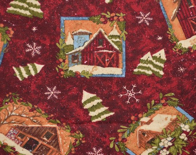 Winter barn fabric, farming Wilmington Prints Rebecca Carter