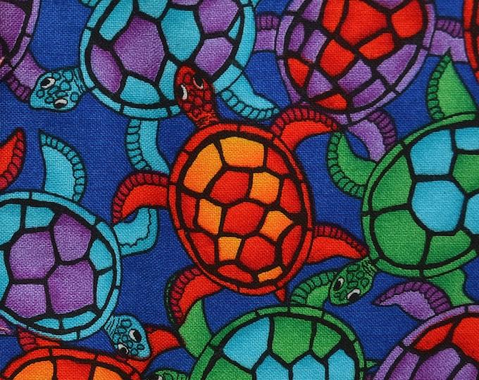 Multi color sea turtle fabric bright colors Hawaiian turtle