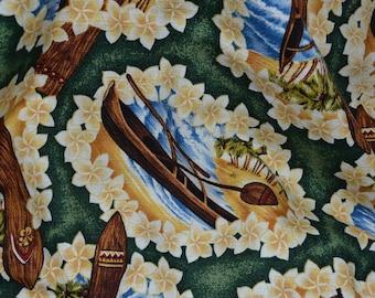 Hawaiian barkcloth fabric with surfboards Trendtex 1999