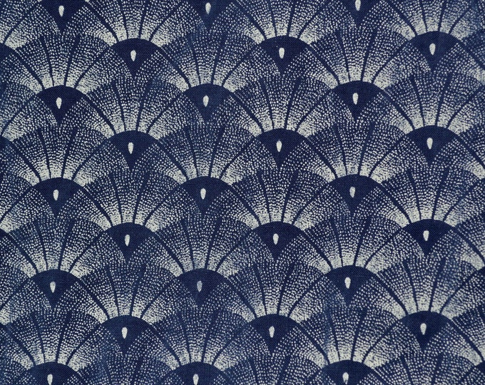 Japanese fan fabric blue Japanese print scallop fabric