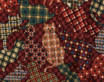 Country calico cat fabric novelty retro cats plaids checkered half yard