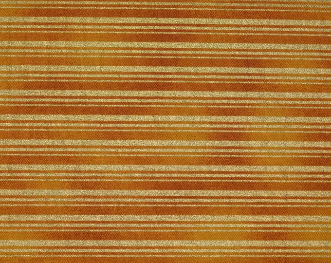 Metallic Gold striped fabric, holiday stripes, Timeless Treasures