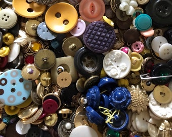 button lot mixed buttons sewing craft collage