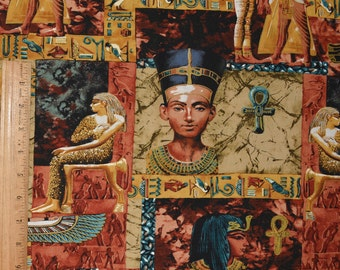 Egyptian fabric, hieroglyphics for pyramid fabric remnant