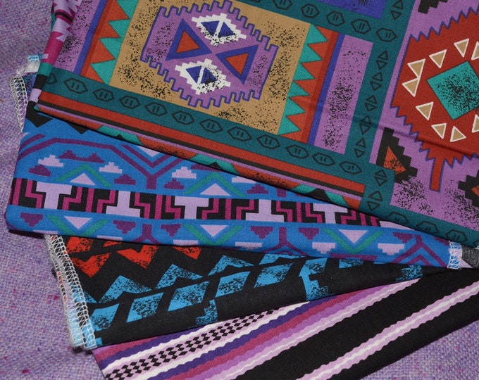 Aztec stripe fabric bundle of Southwest blanket prints Cranston vintage