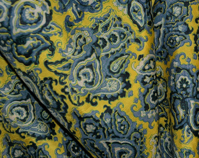 silk fabric printed silk blue on yellow Moroccan print pure silk fabric