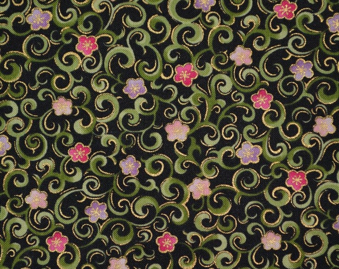 Multi floral fabric, Small floral print fabric with swirls Fabric Traditions