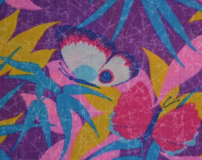 Butterfly fabric 80s pink South Beach Tropical print bamboo leaf fabric