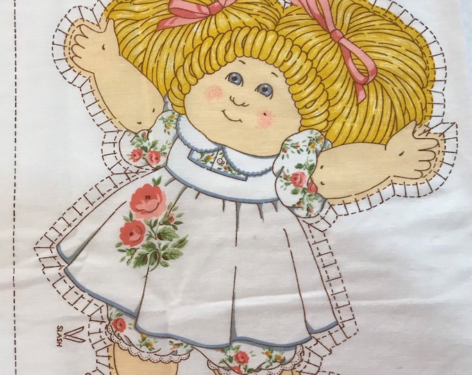 Cabbage Patch baby girl doll fabric doll panel Cabbage Patch girl