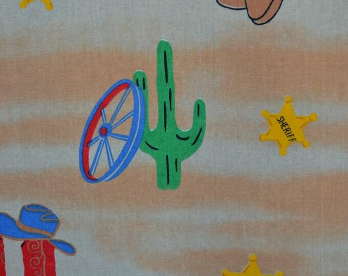 Retro Cowboy fabric, western baby buckaroo fussy cutter