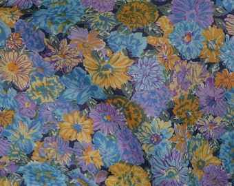 Spring floral fabric, Vintage cotton voile fabric by the yard, Blue Lavender floral fabric