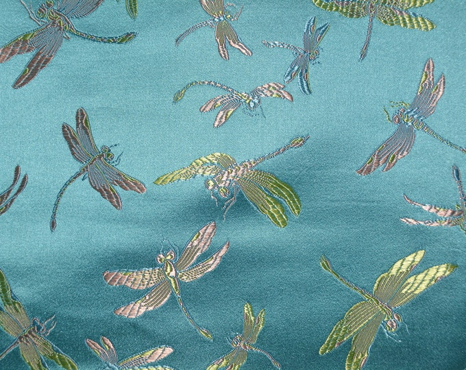 Vintage fabric, embroidered dragonflies, Chinese satin rayon BTY