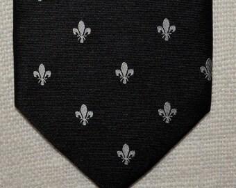 Fleur de lis tie Silk necktie black silver tie