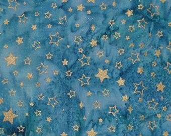 Blue Tie Dye batik fabric with stars, celestial fabric