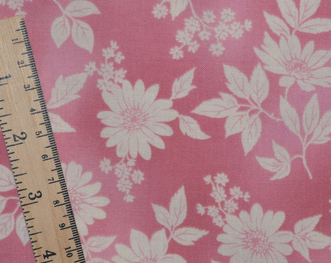 Robert Kaufman floral fabric by the yard, dusty pink floral stencil