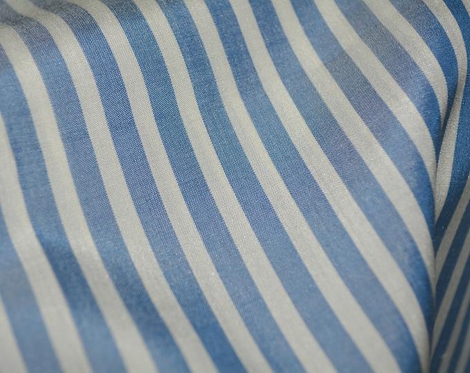 Pure silk striped fabric by the yard, narrow denim blue stripes classic