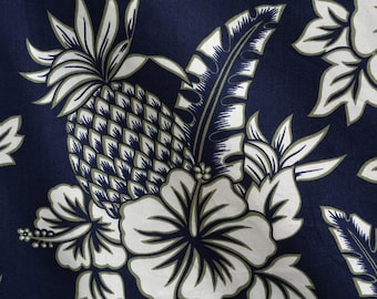 Floral Hawaiian pineapple fabric 90s does 50 retro Hoffman fabrics