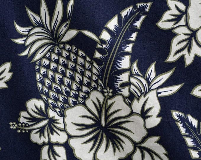 Floral Hawaiian pineapple fabric 90s does 50 retro Hoffman fabrics