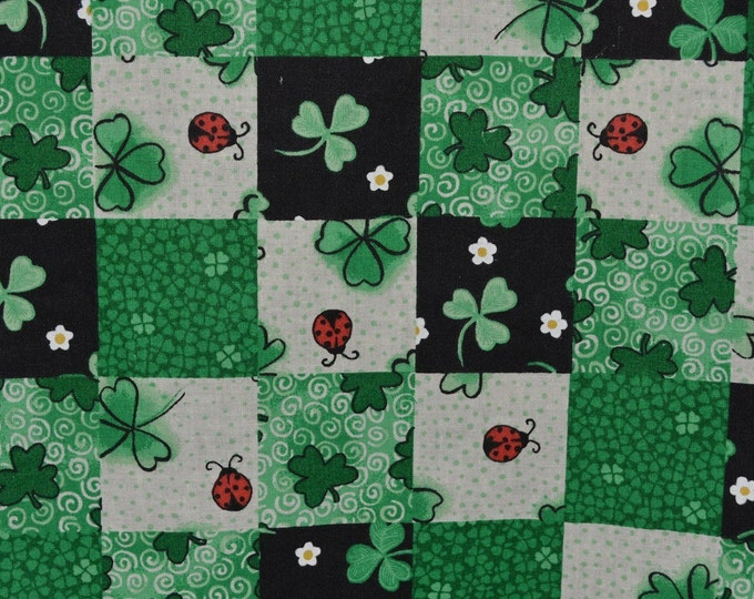 St Patricks Day fabric shamrock fabric with ladybugs retro fabric from Marcus Brothers