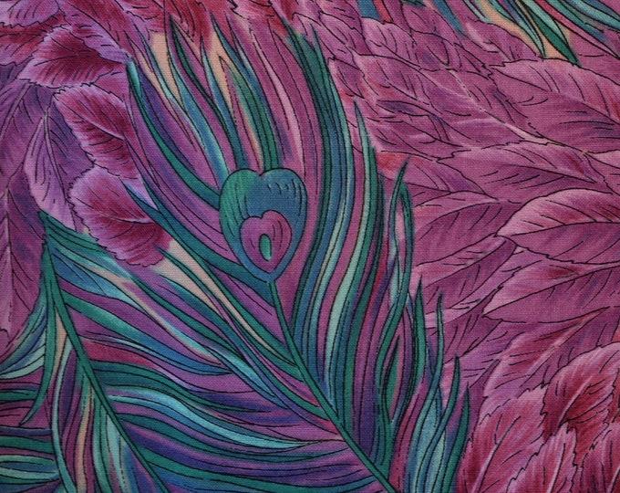 VHTF Bird Feathers fabric peacock feathers Hoffman International