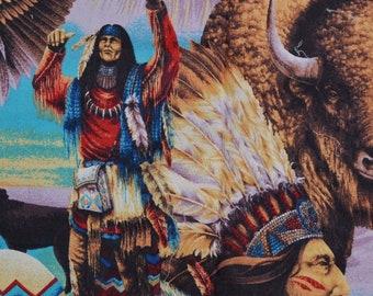 Native American fabric buffalo fabric Indian Chief medicine man horses Springs