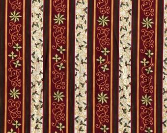 Folk art Christmas stripe fabric, Sharon Reynolds Northcott Tenderberry