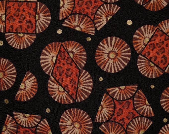 Tribal fabric African pattern fabric black orange fabric African tribal art