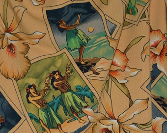 Hawaiian fabric vintage, hula girl postcards and tropical floral motif, rayon challis twill