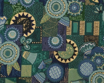 Deco geo fabric by the yard blue green makower fabric