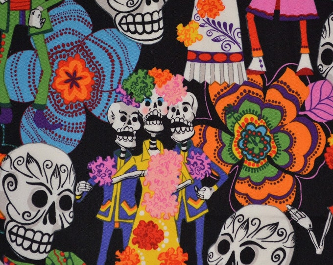 OOP Alexander Henry fabric Day of the Dead fabric sugar skulls muertos fabric