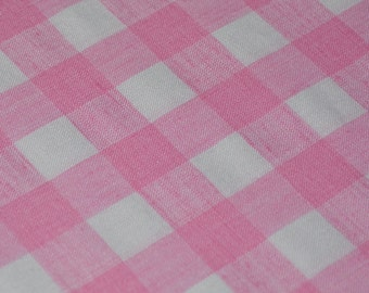 Bubblegum pink white check fabric large scale gingham fabric
