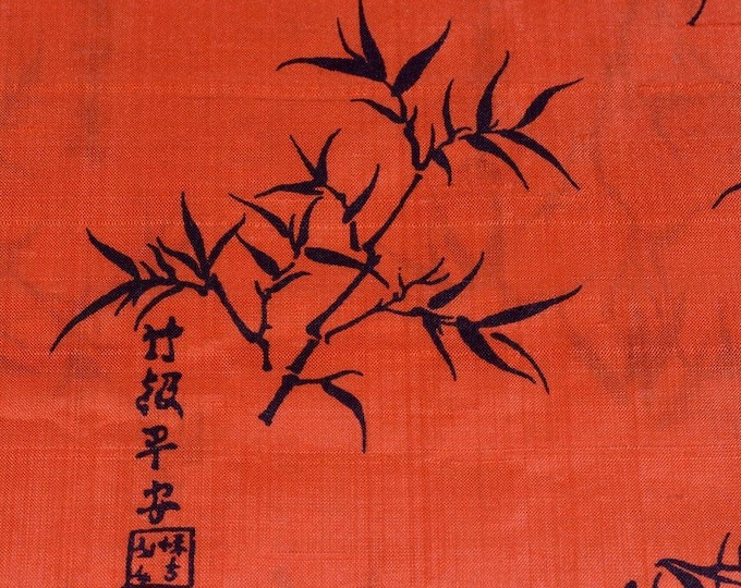 Orange silk fabric dupioni silk fabric Thai silk fabric Asian Calligraphy fabric