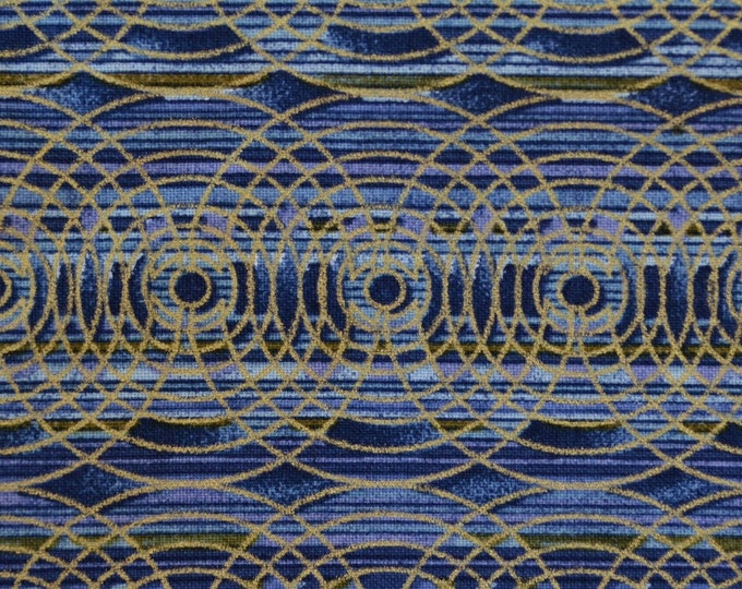 deco geo fabric blue gold striped