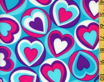 Stretch Performance fabric, spandex lycra fabric, mod hearts
