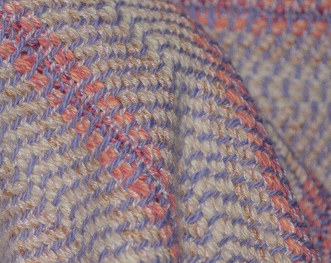 Thick cotton blanket weight fabric Pink Lavender striped hand loomed 2.5 yards