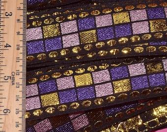 Geometric Vintage trim deadstock metallic trim Purple gold