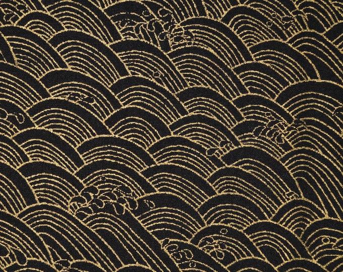 Japanese hills fabric, gold metallic on black fabric, Trans Pacific Textiles