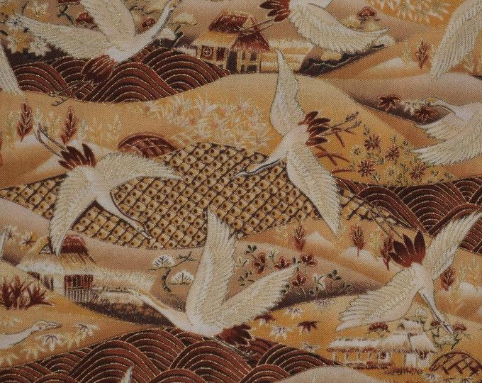 gold Japanese fabric crane fabric half yard Asian fabric Asian crane patchwork kimono fabric
