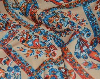 70s polyester knit, orange blue floral lattice fabric