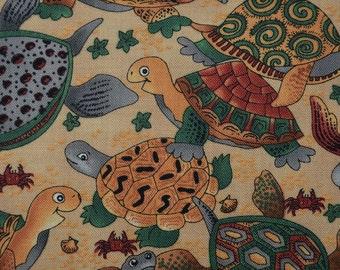 Sea turtle fabric, illustrated turtles on the beach, VHTF Hoffman fabric