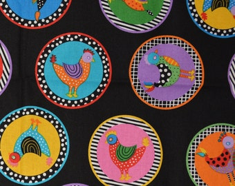 chicken cotton quilting fabric, Giggle Feathers