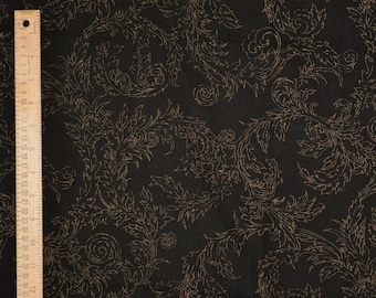 100 % cotton vintage Wamsutta fabric by the yard, gold leaf swirl on black